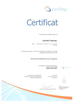 Certificat 9.7 OHSAS18001